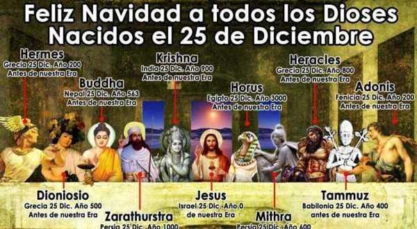 12 dioses que nacieron el 25 de diciembre