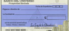 Cheque de la abundancia al Universo. Cheque Millonario.
